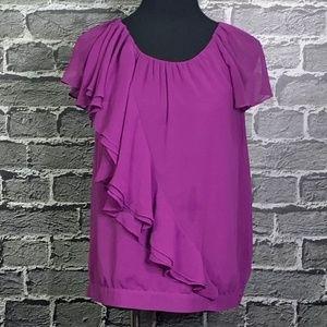 ANN Taylor LOFT Sz S Purple Ruffled Blouse
